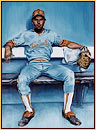 Beau original oil painting depicting a baseball player