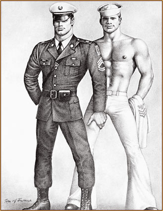 Tom of Finland original fine art print depicting a military officer and a sailor