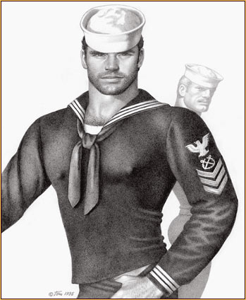 Tom of Finland original graphite on paper drawing depicting two sailors