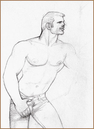 Tom of Finland original graphite on paper study drawing depicting a male seminude