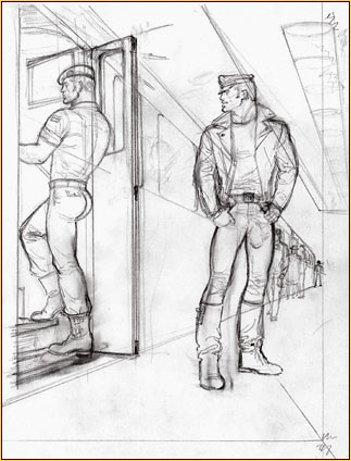 Tom of Finland original graphite on paper study drawing depicting a male figure in uniform and a male figure in leather gear
